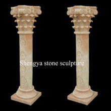 Beige Marble Column Stone Sculpture (SY-C024)