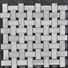 Canada Style Wall Decorative Carrara Marble Basketweave Mosaic Tile