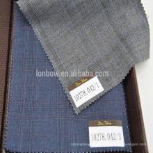 Super110's 100% wool gery/Navy blue plaid fabric
