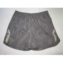 Yj-3015 Mens Black Lined Microfiber Short Sports Running Leisure Pants