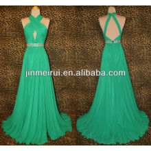 Free shipping real sample sexy green chiffon beaded sleeveless floor length open back evening dress JED033