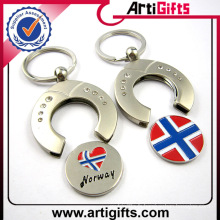 Personnalisé pas cher en métal blanc panier shopping pièce de monnaie porte-clé avec votre logo