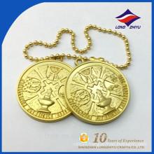 Golden metal chains souvenir 3D design convex dog tag