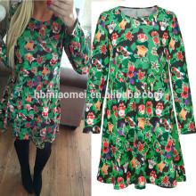Outono inverno senhora dress casual designer de roupas de natal traje verde colorido imprimir natal mulheres dress