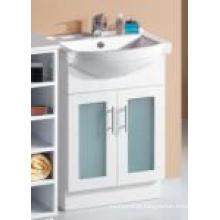 Armário de banheiro de madeira do MDF branco lustroso moderno dos mercadorias sanitários com porta de vidro (P392-600G)