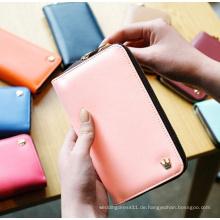 Korean Designer Smartphone Zip-Karten-Geldbeutel-Geldbörse