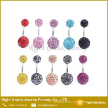 Fashion Wholesale Belly Body Jewelry Rhinestone Shamballa Ball Safe Belly Button Rings