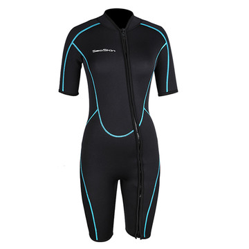 Seaskin Women's Front Zipper Shorty Wetsuit สำหรับดำน้ำ