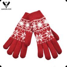 Mujeres moda acrílico patrón de copo de nieve jacquard guante