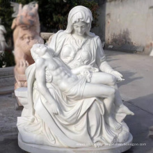 Outdoor decoration carving white marble stone pieta statue