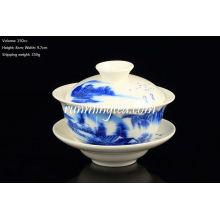 Vente chaude Blue Landscape Pu Er Gaiwan avec soucoupe, tasse à thé (150cc)