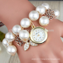 2015 Nouveau bracelet en forme de bracelet bracelet en cristal rhinestone longue femme en cuir montre quartz montres bracelet en perle bracelet BWL012