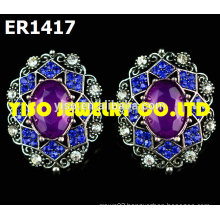 fashion designer stud rhinestone earrings