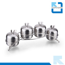 4 Pieces Stainless Steel Spice Sugar Salt Pepper Seasoning Food Container