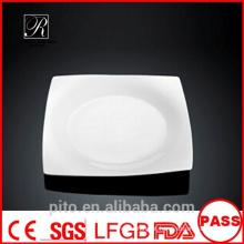 P & T de porcelana fábrica placas quadradas, placas de jantar, placas em branco