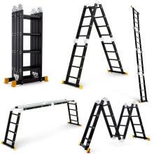 4.7m 15.5FT Escalera multiusos de aluminio telescópica plegable Plataforma de extensión Negro