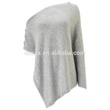 PK17ST124 Button Wrap wool blends wrap poncho