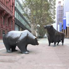 Decoração pública grande touro de bronze ao ar livre e urso escultura de bronze