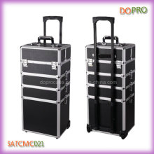 4 in 1 Black Aluminum Trolley Beauty Cosmetic Case (SATCMC021)