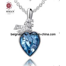 Sw Elements Crystal Indicolite Color Heart Necklace