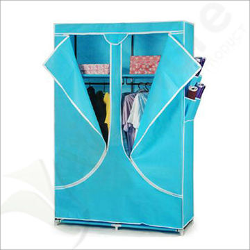 Single Canvas effect Wardrobe Clothes Rail Storage in Navy