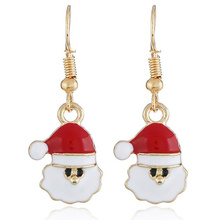Factory Direct Sales European and American New Cartoon Cute Santa Claus Metal Earrings Fashion Creative Christmas Series Earring