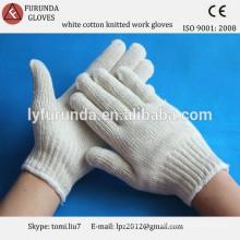 700g de coton blanc naturel tricoté des gants de travail à gros prix en gros fabriqué en Chine