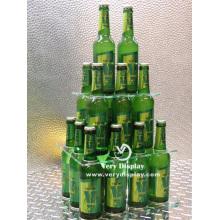 Expositor personalizado em pirâmide para garrafas de acrílico