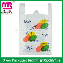 Grabado personalizado del producto de la venta caliente que imprime las bolsas de plástico al por mayor de la tienda de comestibles con el logotipo