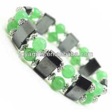 Magnetische Hämatit Space Armband mit Legierung und 8MM Green Aventurine Runde Perlen
