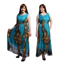 Fashion women premium chiffon peacock printed dress