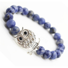 Sodalite Gemstone Bracelet avec alliage de Diamante Owl Piece