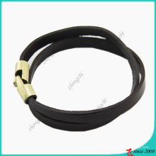 Bracelet en cuir noir anti-laiton fermoir en acier inoxydable (LB)