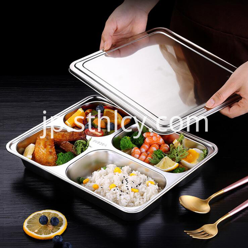 Rectangular4 Compartments 304 Stainless Steel Lunch Plate