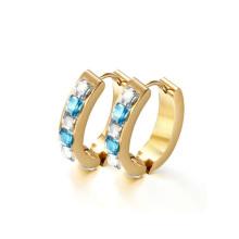 Round huggie diamond hoop earrings,gold crystal huggie hoop earring