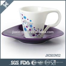 180CC 12pcs tasse à café en porcelaine et soucoupe, ensemble de tasse colorée, tasse à café