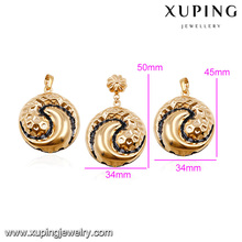64014- Xuping Jewellery Set Gold Dubai Cheap Bridal Wedding Jewellery Designs