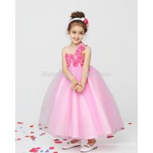 Розовый-линии молния назад аппликации цветы оптом Подгонянный цветок девушка платье vestidos FGZ39 платья для девочек 10 лет