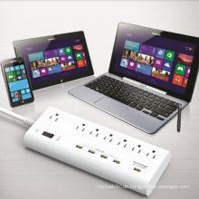 7 AC Us Steckdosen 5 USB Ports Power Strip Charger
