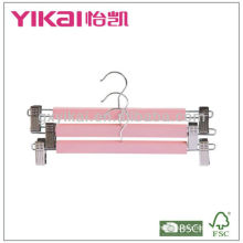 Good quality wooden skirt and trousers hanger with metal clips