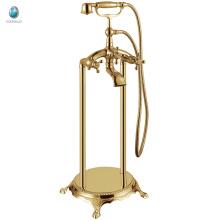 KFT-02J fini or clawfoot plancher monté robinet de baignoire autoportante, robinet de douche de téléphone en laiton debout libre de luxe
