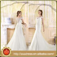 VIL-05 Court Train Buttons Back Lace Off Shoulder Short Sleeves Lace Appliques Wedding Dress Custom made