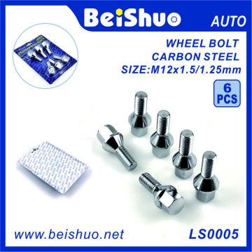 6 PCS Hexágono de aço carbono parafuso do cubo de roda conjunto