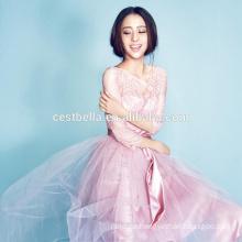 Süßes Mädchen-Rosa-romantisches halbes Hülsen-Abschlussball-Kleid-Abend-Kleid