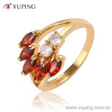 Fashion Elegant Leaf-Shaped CZ Crysral 18k Gold-Plated Jewelry Ring -11410