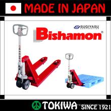 JIS standard certified high quality and durable Bishamon series hand pallet truck. Manufactured by Sugiyasu. Made in Japan