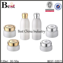 wholesale green glass bottle and jar for cream,round glass bottle and jar for cream