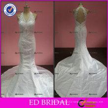 ED Sexy Lace Appliqued Halter Unique Open Back Satin Wedding Dresses 2017