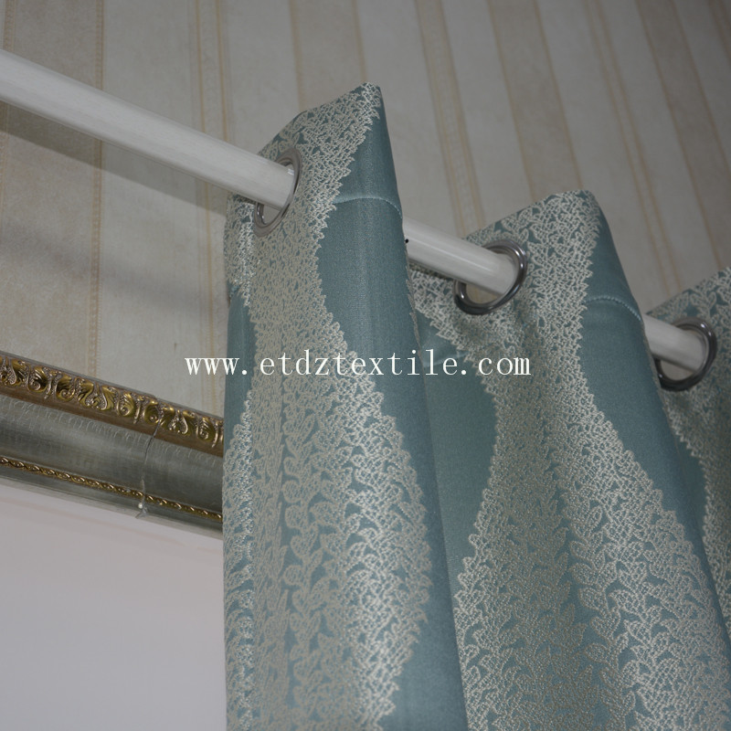 100% Polyester Embroidery Like Curtain Fabric GF028 Water Blue