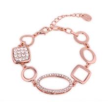 Newest Design 18k Eco-Fridendly Rose Gold Crystal Geometric Shape Charm Bracelet Jewelry